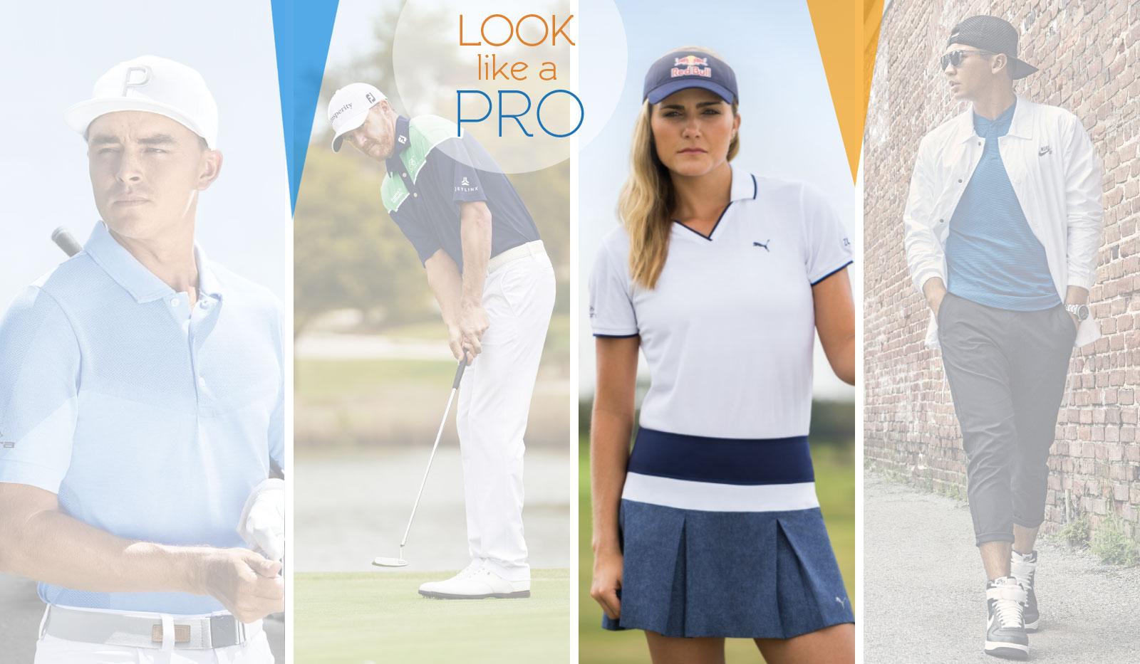 4 Profigolfer im Sport Outfit