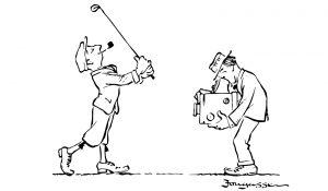 Zeichnung Golfer der fotografiert wird