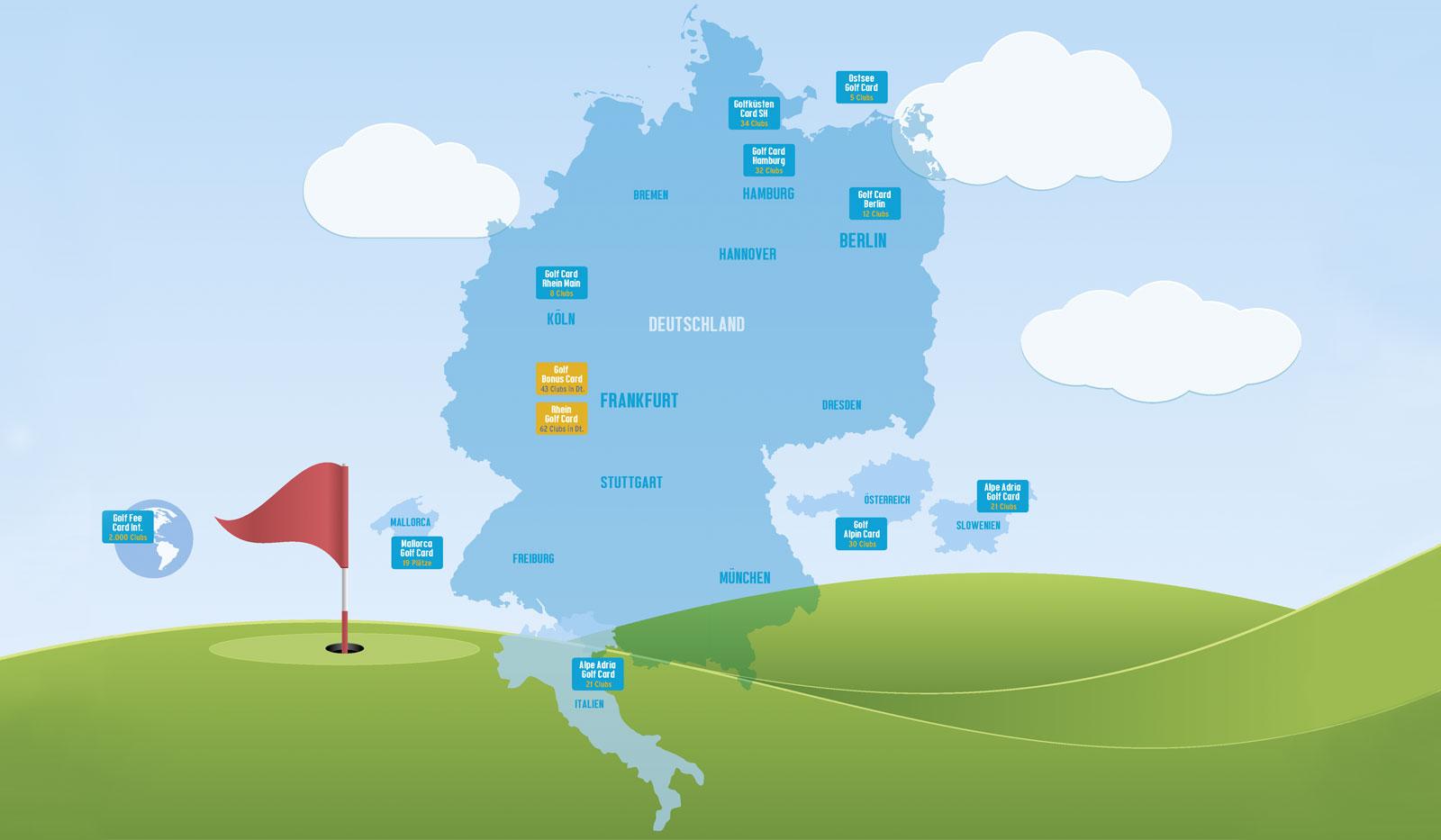 Grafik- Karte mit Infos wo GolfCard Clubs sind
