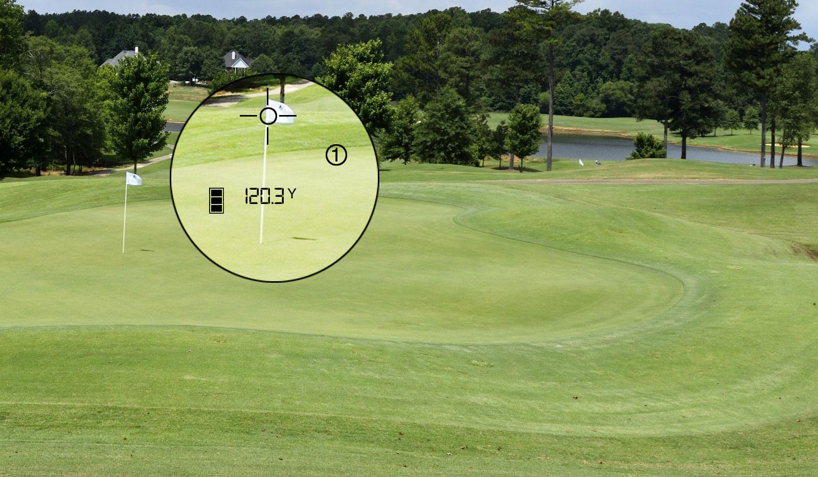 Ansicht wie mn durch ein bushnell Laser Gerät mit Entfernungsangebe zur Fahne