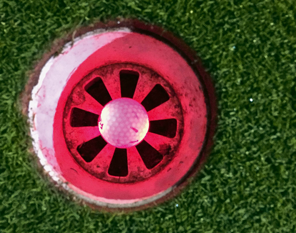 Neon Golfball in Hole