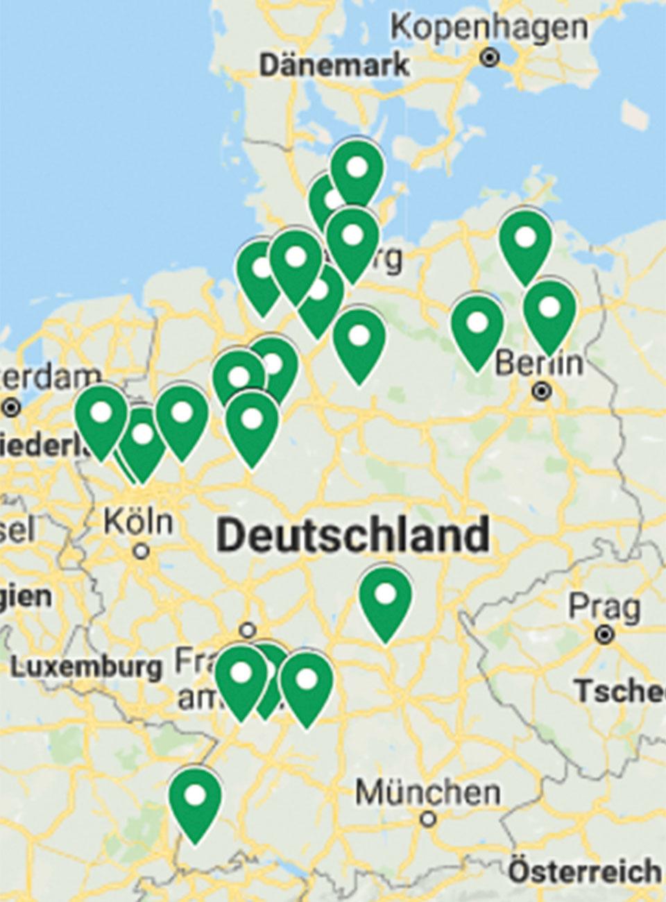 Deutschlandkarte mein-golfclub-Mitglieder