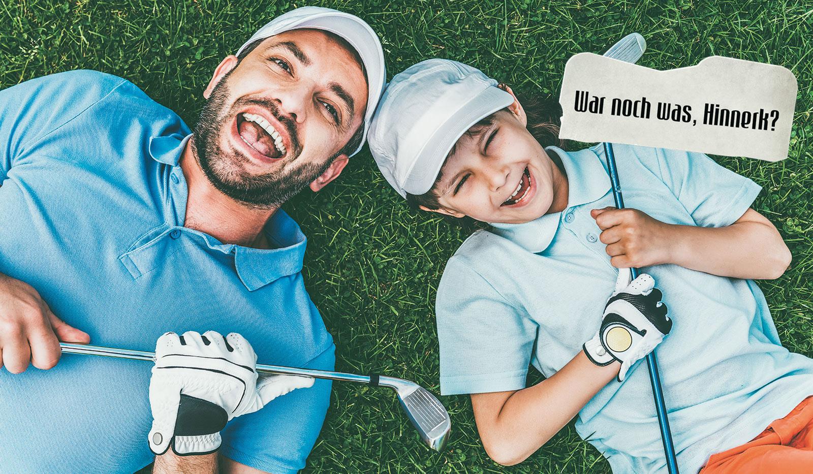 Vater und Sohn in Golfbekleidung