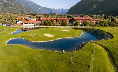 Panoramaperspektive Golfplatz und Dolomitengolf Resort