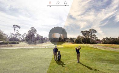 Vergleich Blick mit und ohne Sonnenbrille auf dem Golfplatz