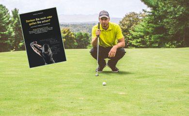 Golfer und Buchcover