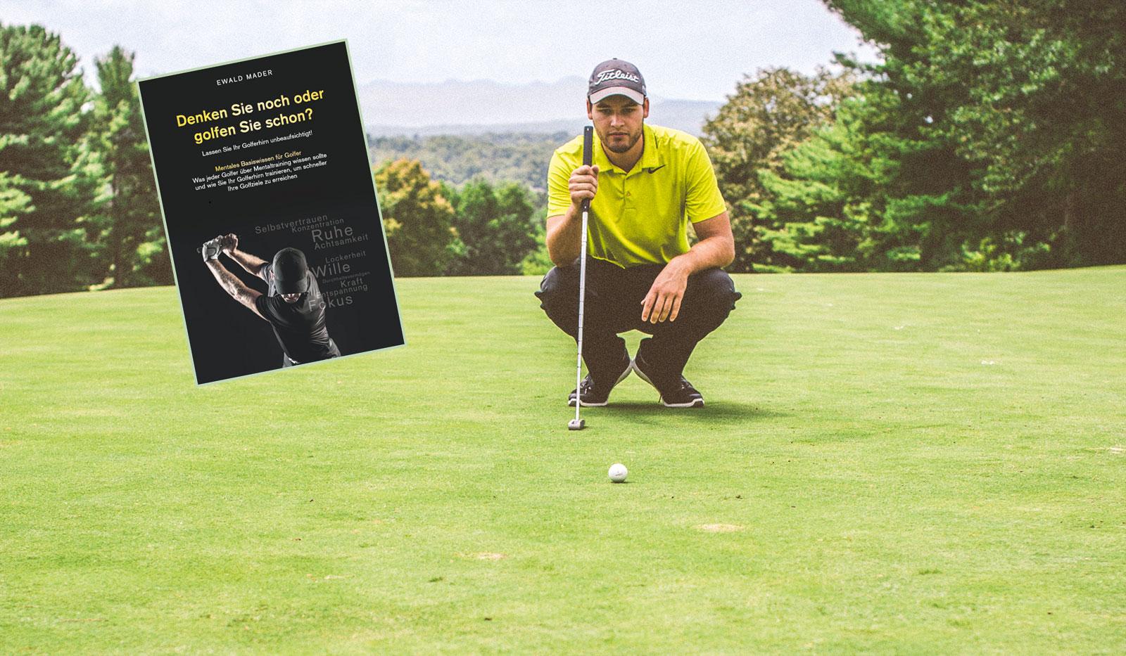 """Golfer und Buchcover """"Denken Sienoch oder golfen Sie schon?"""""""
