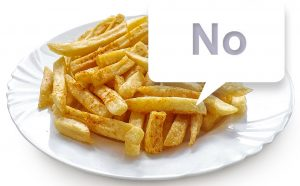 "Teller Pommes mit Sprechblase ""No"""