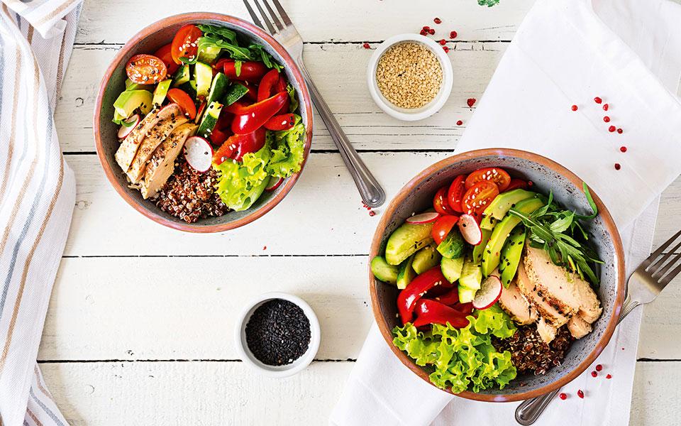 Saladbowls mit Hühnchen