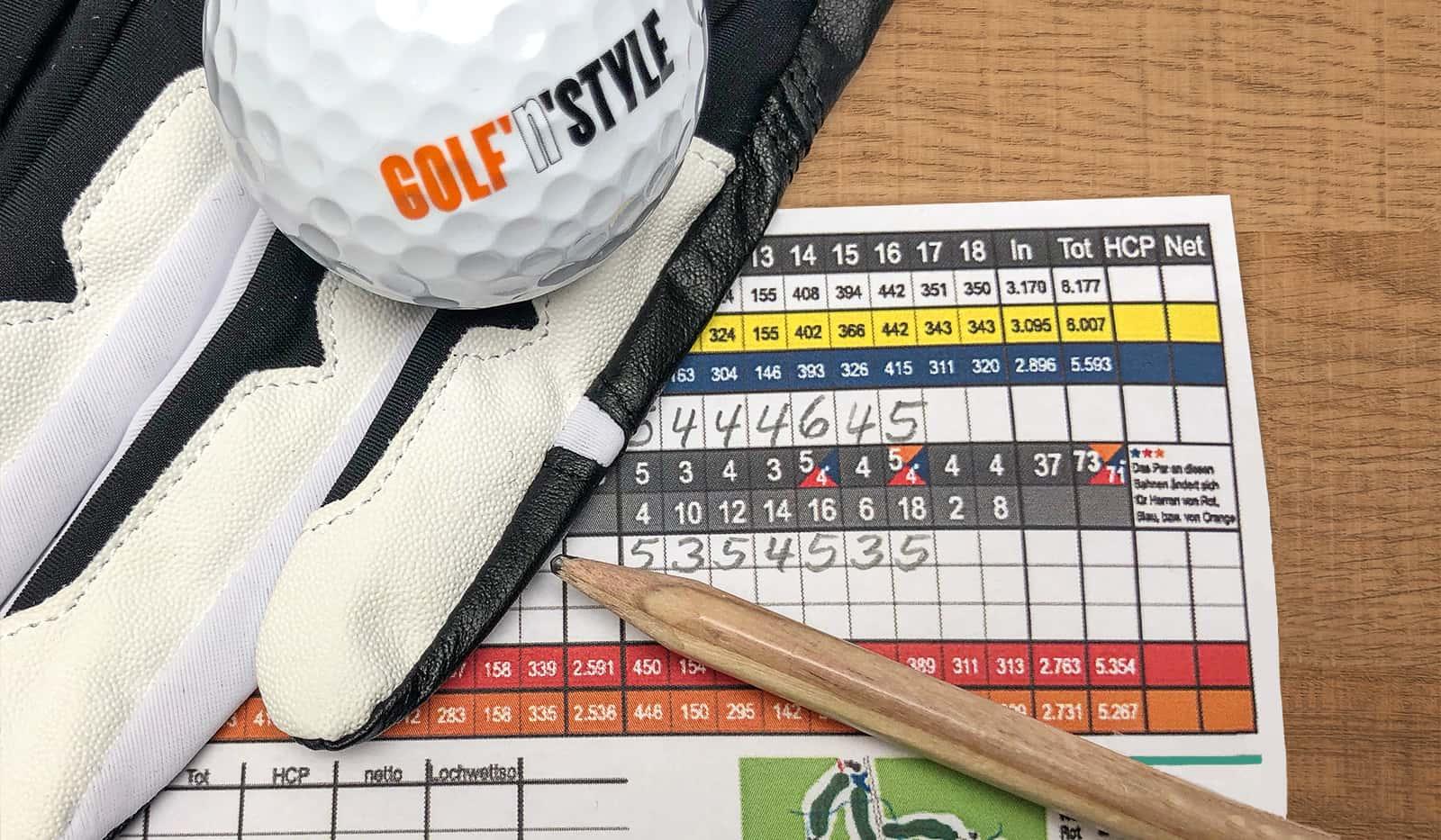 Scorkarte, Golfhandschuh. GOLF'n'STYLE Golfball