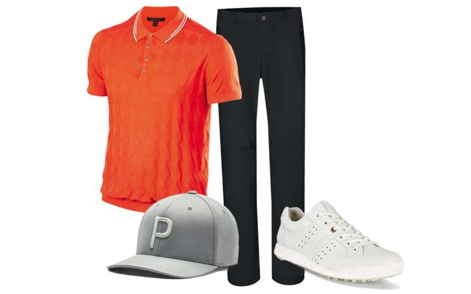 Golfoutfit Herren, orangenes Polo, schwarze Hose, graue Cap, weiße Schuhe