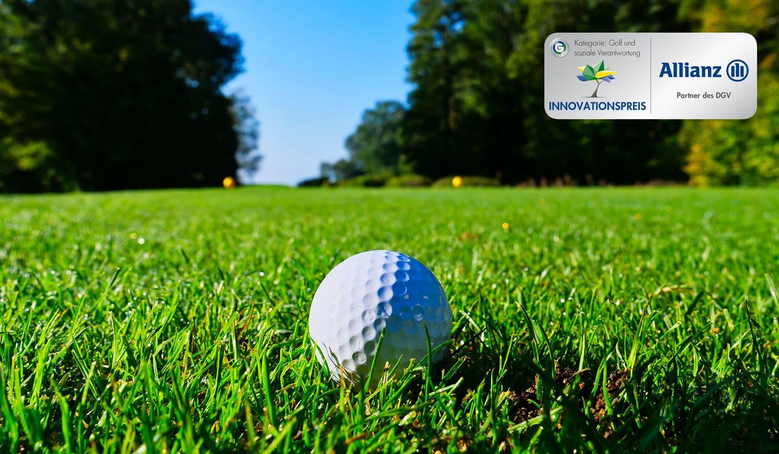 Golfball auf Rasen, DGV Innovationspreis Logo