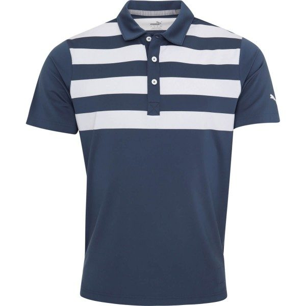 Puma Poloshirt Stripes kurzarm navyweiß