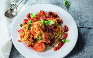 Vitamin-Rezepte Spaghetti Tintenfisch Shrimps Ragout