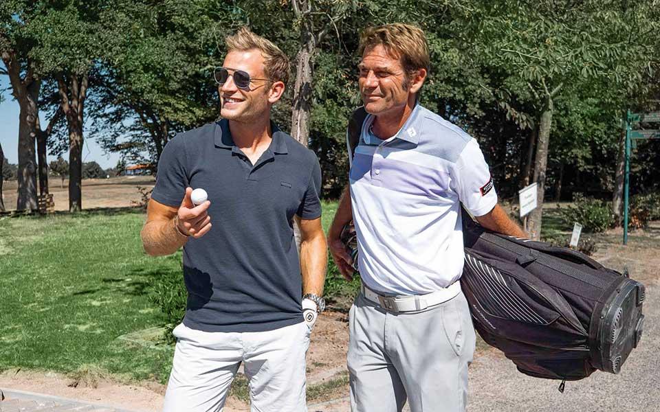 Der Pilot und der dreimalige European Tour-Sieger: Patrick Biedenkapp und Sven Strüver verstanden sich gut bei Patricks Schnupper-Golfstunde im Golfclub Fleesensee. GOLF'n'STYLE war dabei!