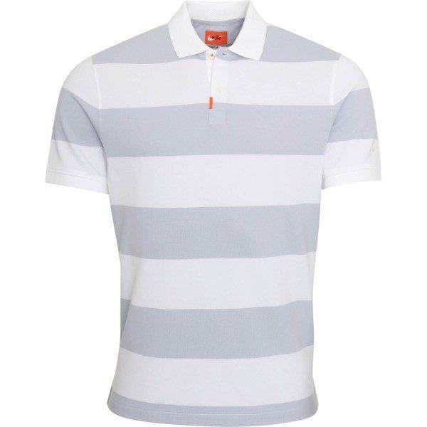 Nike Golf Poloshirt The Nike Stripe kurzarm grauweiß