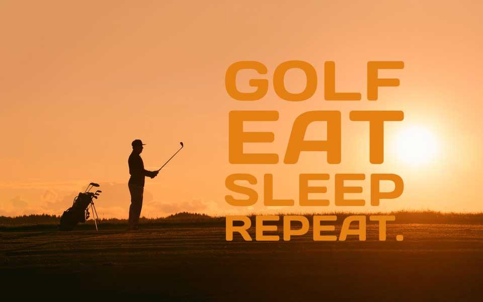 Golfer Sonnenuntergang
