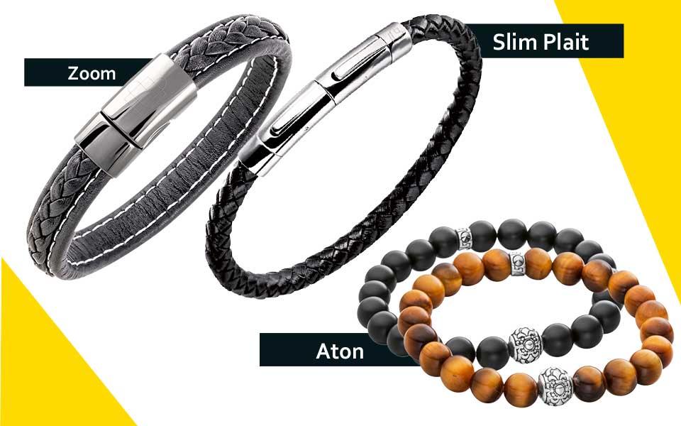"""Lunavit Herren-Armbänder """"Zoom"""", """"Slim Plait"""" und """"Aton"""""""