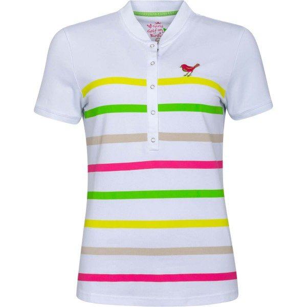 girls golf Poloshirt White Striped weiß