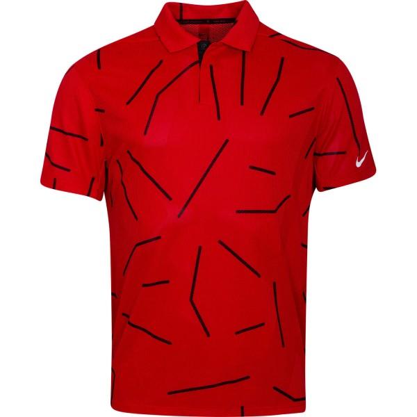 Nike Golf Poloshirt Tiger Woods Dri-Fit Printkurzarm rot